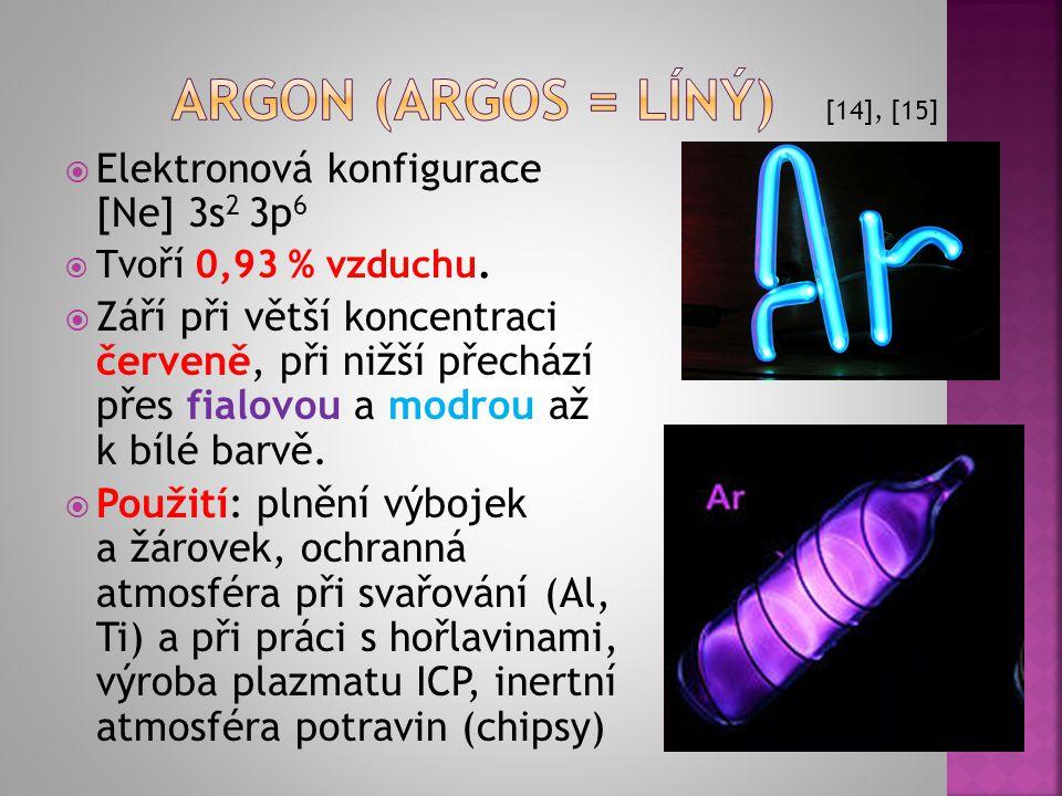 Argon (argos = líný) Elektronová konfigurace [Ne] 3s2 3p6